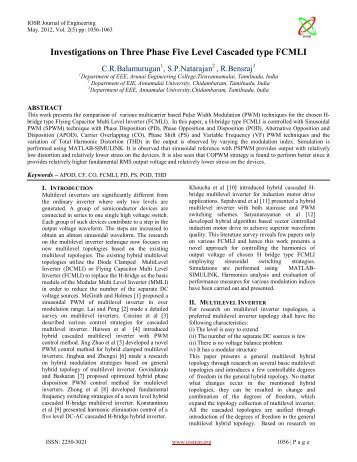 Investigations on Three Phase Five Level Cascaded type ... - IOSRJEN