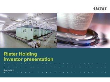 Investor Presentation 2013 - Rieter