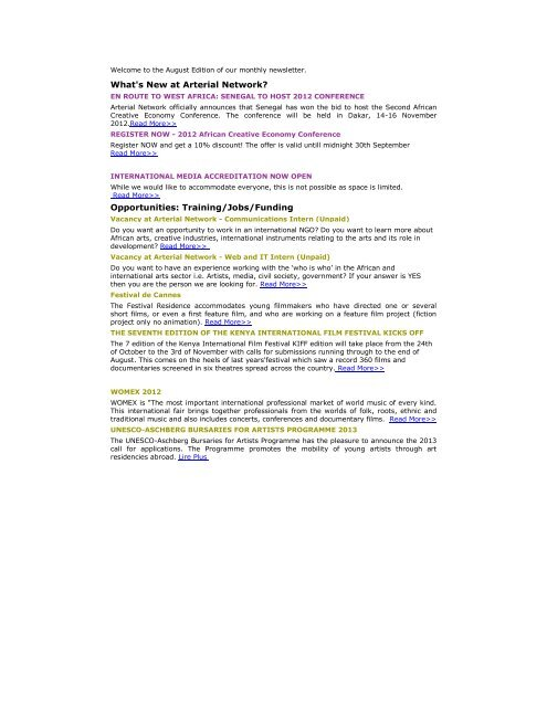 What's New at Arterial Network? Opportunities: Training/Jobs
