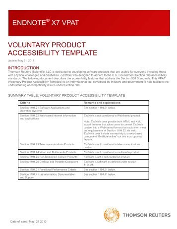 20 free magazines from endnote com for Voluntary product accessibility template section 508