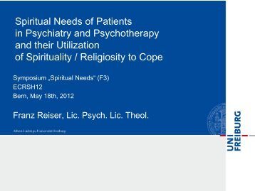 Spirituality in Psychiatry and Psychotherapy