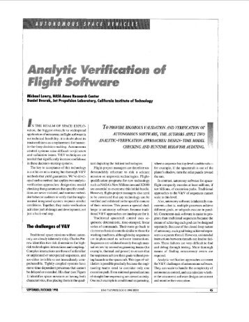 Analytic verification of flight software - Intelligent Systems Division ...