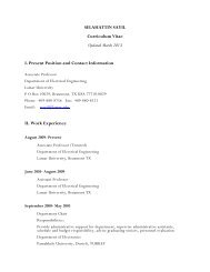 Curriculum Vitae - Lamar University Electrical Engineering