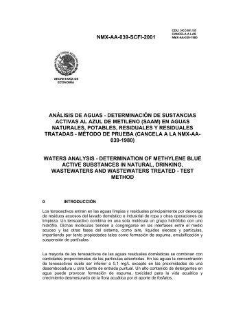 NMX-AA-039-SCFI-2001 ANÁLISIS DE AGUAS ... - CONAGUA