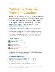 California Tourism Program Catalog