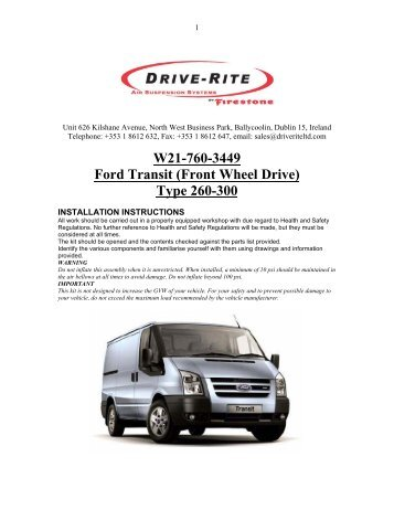 W21-760-3449 Ford Transit (Front Wheel Drive) Type 260-300