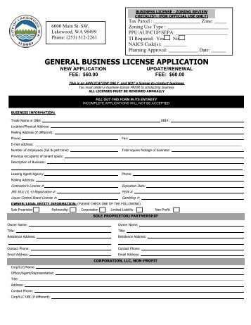 GENERAL BUSINESS LICENSE APPLICATION - City of Lakewood