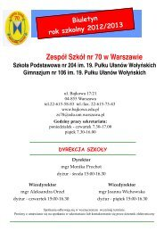 3 października biuletyn - Witamy na stronie Zespołu Szkół nr 70 w ...