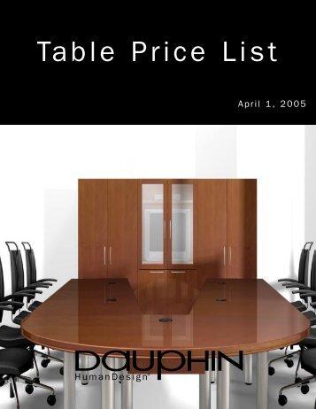 Table Price List - Dauphin