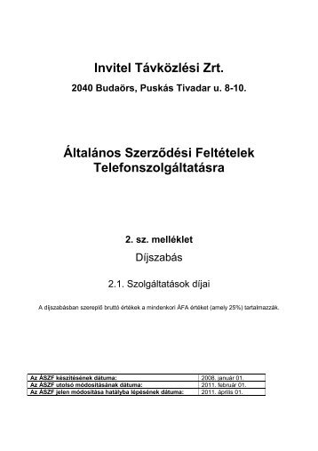 Invitel Távközlési Zrt. Általános Szerződési Feltételek ...