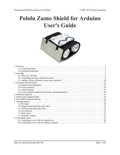 Pololu Zumo Shield for Arduino User's Guide - Pololu