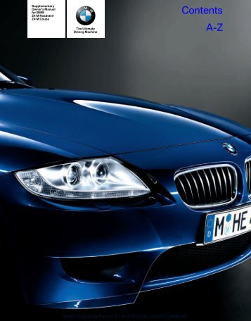2007 BMW Z4 M Coupe Owners Manual - Irvine BMW