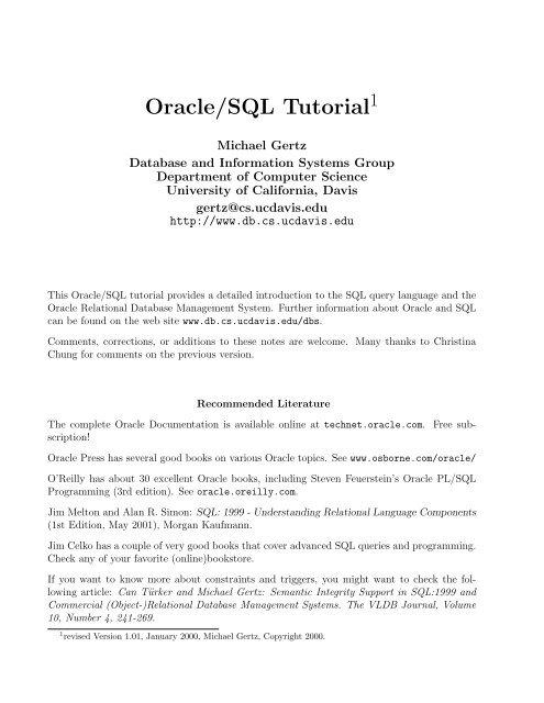 Oracle/SQL Tutorial - To DataJett com