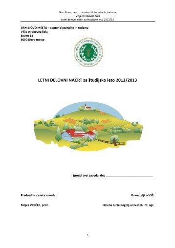 LETNI DELOVNI NAČRT za študijsko leto 2012/2013