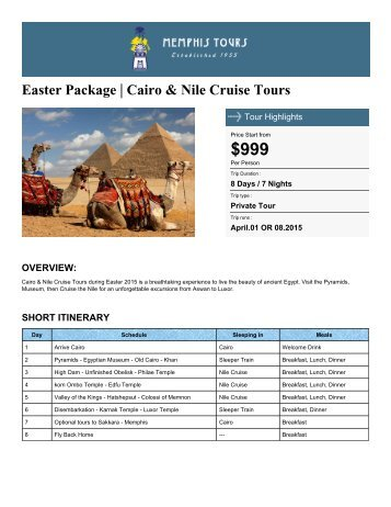 Easter Package | Cairo & Nile Cruise Tours - Memphis Tours Egypt