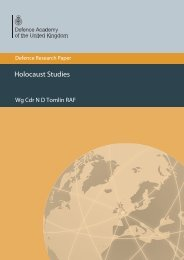 Holocaust Studies - Defence Academy of the United Kingdom