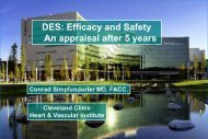 DES: Efficacy and Safety An appraisal after 5 years - cardioegypt2011