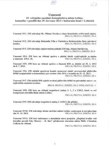 Usnesení z 19. zasedání ZM ze dne 29.7.2013 - Loštice
