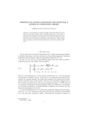 EXISTENCE OF RADIAL STATIONARY SOLUTIONS FOR ... - CAPDE