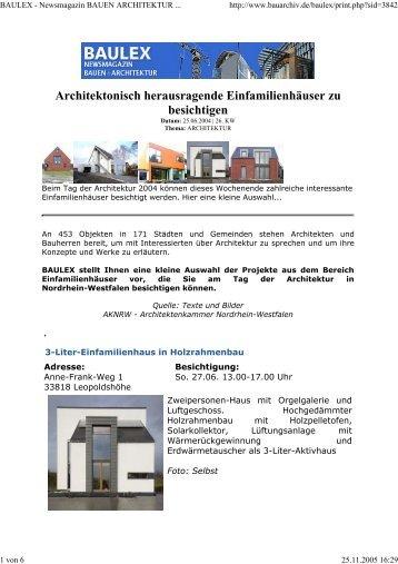 Architektonisch herausragende Einfamilienhäuser zu besichtigen