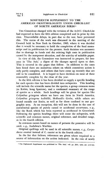 nineteenth supplement to the american ornithologists' union check