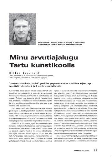 Minu arvutiajalugu Tartu kunstikoolis (Hillar Uudevald) - Haridus