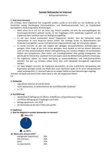 """Ergebnisse der Befragung """"Soziale Netzwerke im Internet"""" - Scribito"""