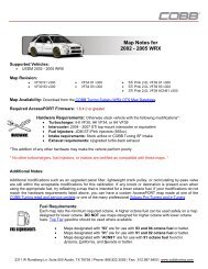 Mitsubishi Evolution X Map Notes - Cobb Tuning