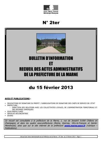 Recueil 2ter-2013 du 15 février - Préfecture de la Marne