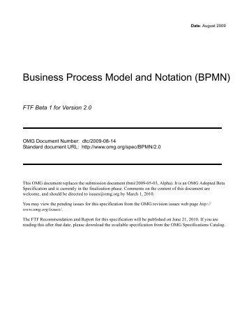 Business Process Modeling Notation (BPMN), Version 1.0