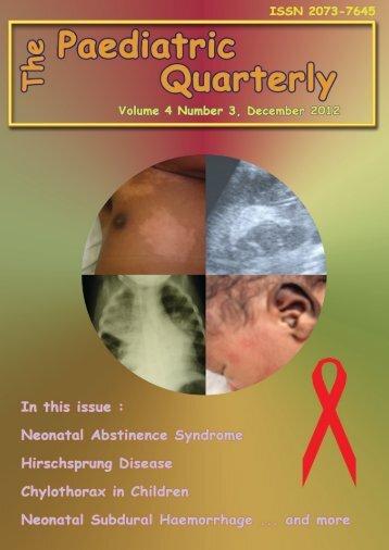 Volume 4 no. 3, December 2012 - The Paediatric Quarterly