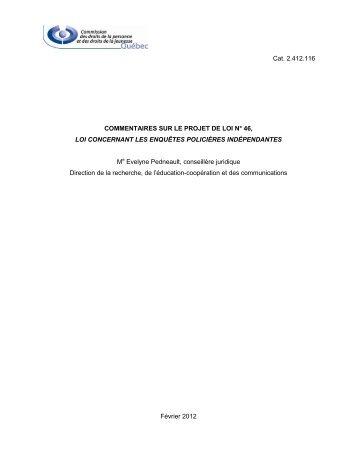 Commentaires sur le Projet de loi n° 46, Loi concernant les ... - CDPDJ