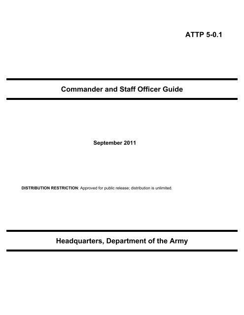 ATTP 5-0 1 Commander and Staff Officer Guide - Army