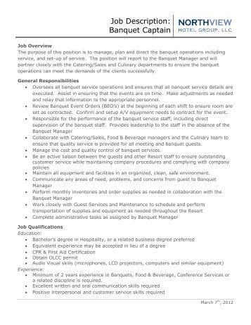 job description banquet captain running y ranch - Banquet Job Description
