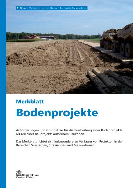 Merkblatt Bodenprojekte als Teil von Bauprojekten ausserhalb ...