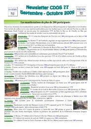 Newsletter N°19 : Septembre-Octobre 2009 - CDOS 77