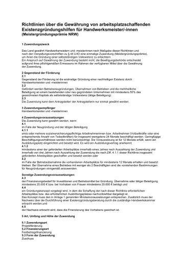 Richtlinien über die Gewährung von ... - Ziel2.NRW