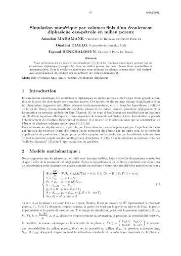 Simulation numérique par volumes finis d'un écoulement ... - MSAS