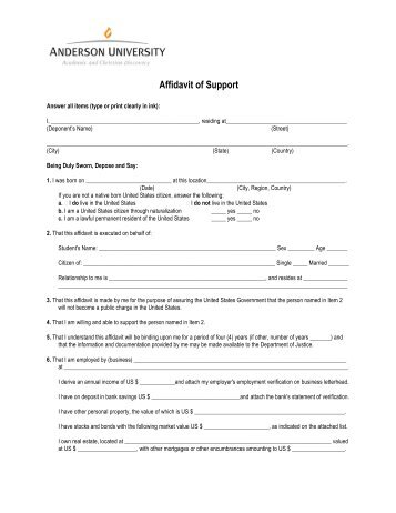 Form  Affidavit Of Support