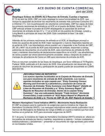 ACE DUENO DE CUENTA COMERCIAL abril del 2009 - CBP.gov