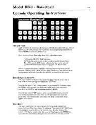 Basketball (BB-1) Console Operating Instructions - Colorado Time ...