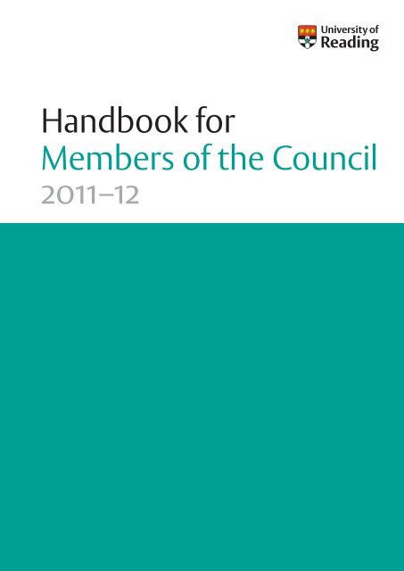 Handbook for Members of the Council - University of Reading