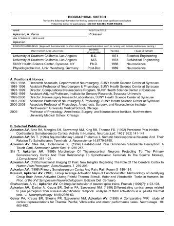 SciENcv  NIH Fellowship Biographical Sketch  NLM Technical