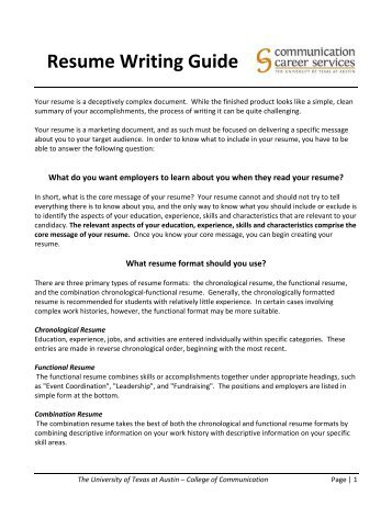 Resume Writing Guide   Writing Resumes And Letters Of Application Broward College