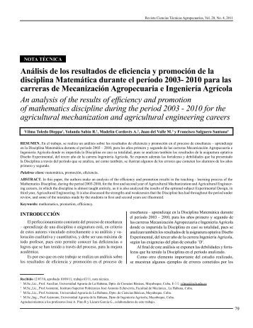 Análisis de los resultados de eficiencia y promoción de la ... - SciELO