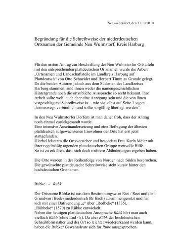 Begründung für die Schreibweise der niederdeutschen Ortsnamen ...
