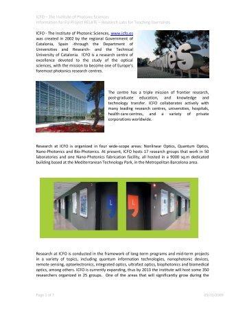 El Instituto de Ciencias Fotónicas (ICFO) fue creado ... - Relate Project