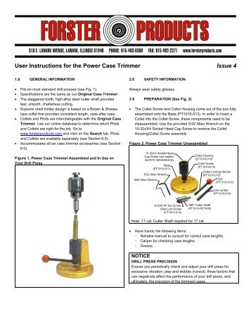 User Instructions For 50 Bmg Case Trimmers Forster Products