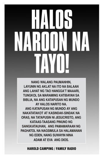 harold camping / family radio nang walang paumanhin, layunin ng ...
