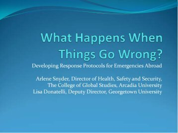 What Happens When Things Go Wrong Abroad - AACRAO